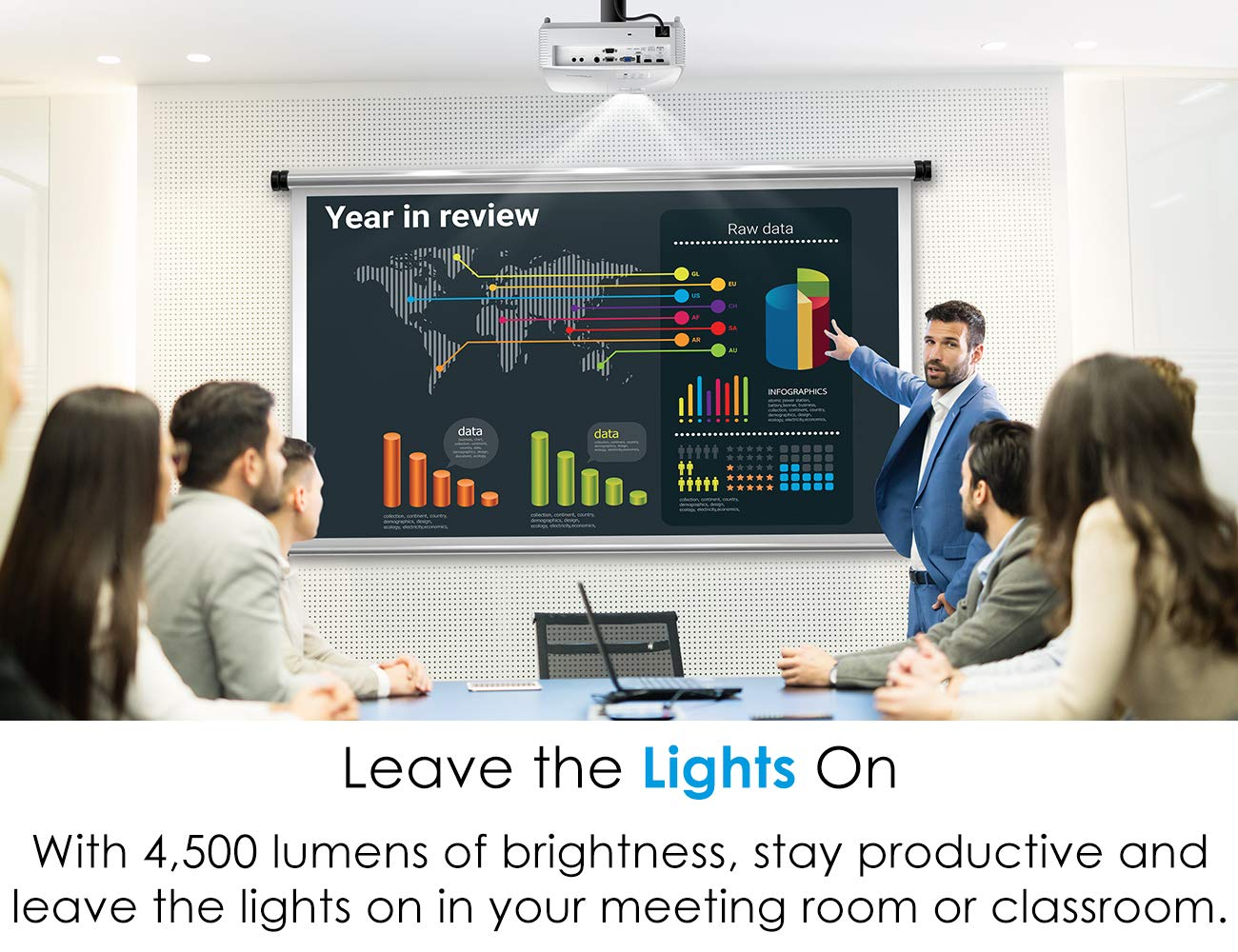 Optoma EH412 1080P DLP Professional Projector | Super Bright 4500 Lumens | Business Presentations, Classrooms, and Meeting Rooms | 15,000 Hour lamp Life | 4K HDR Input | Speaker Built in by Optoma (Image #5)