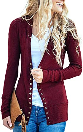 56658814deee0 Myobe Women's Burgundy Snap Button Down Cardigan V-Neck Long Sleeve  Lightweight Knit Cardigans Sweaters