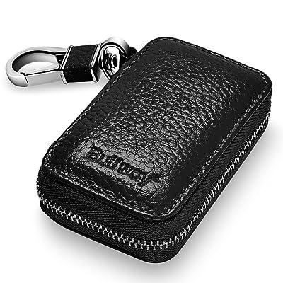 Buffway Car Key case,Genuine Leather Car Smart Key Chain Keychain Holder Metal Hook and Keyring Zipper Bag for Remote Key Fob - Black: Automotive [5Bkhe2004474]