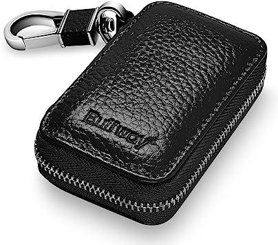 Genuine Leather Zip Men Women Car Key Bag Chain Ring Holder Case US