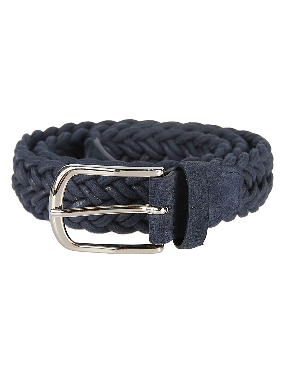 Orciani Mens U07764blue Blue Linen Belt