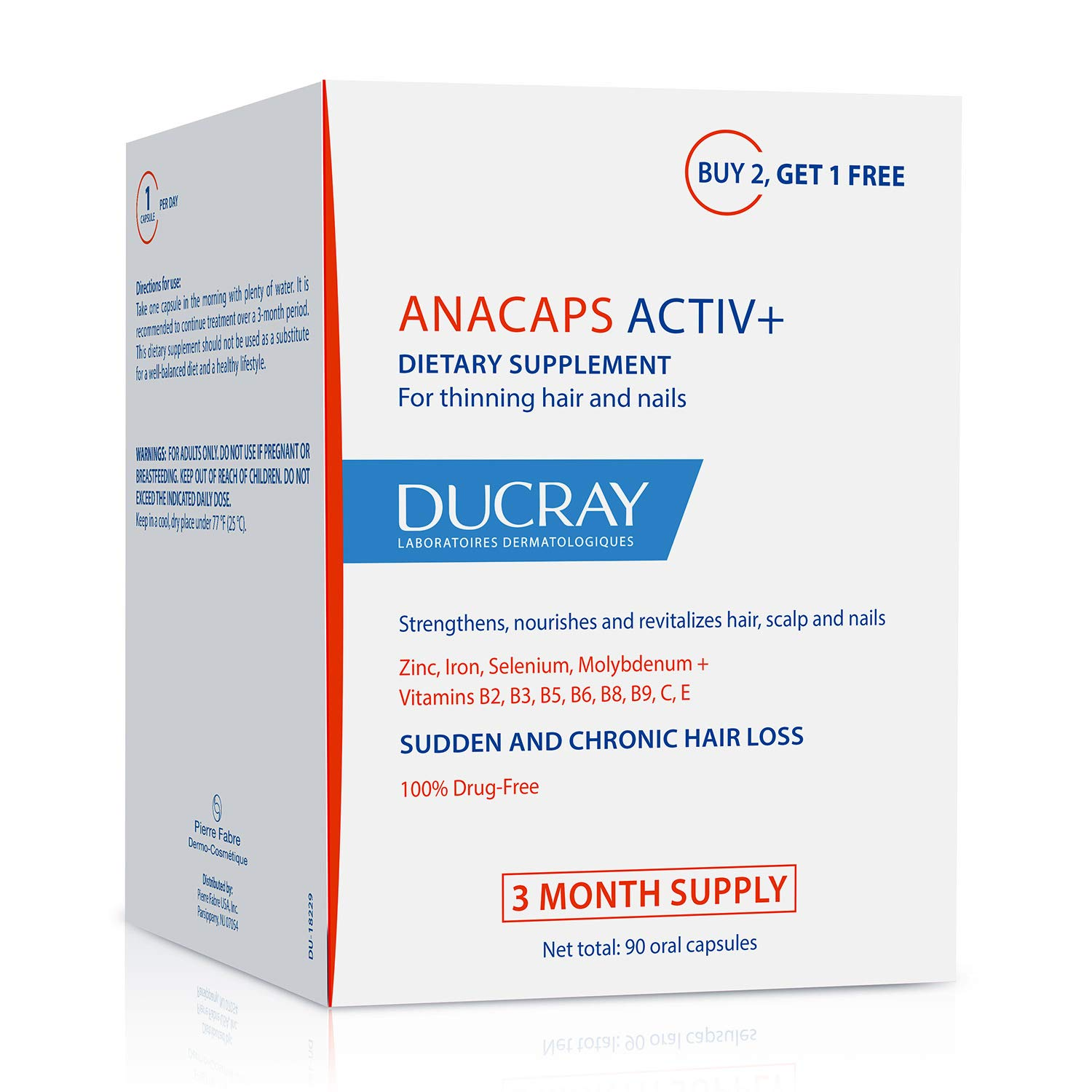 Ducray Anacaps ACTIV+, Dietary Supplement for Healthy Hair & Nails, Biotin, Gluten-, Soy-Free, 30 Day Supply