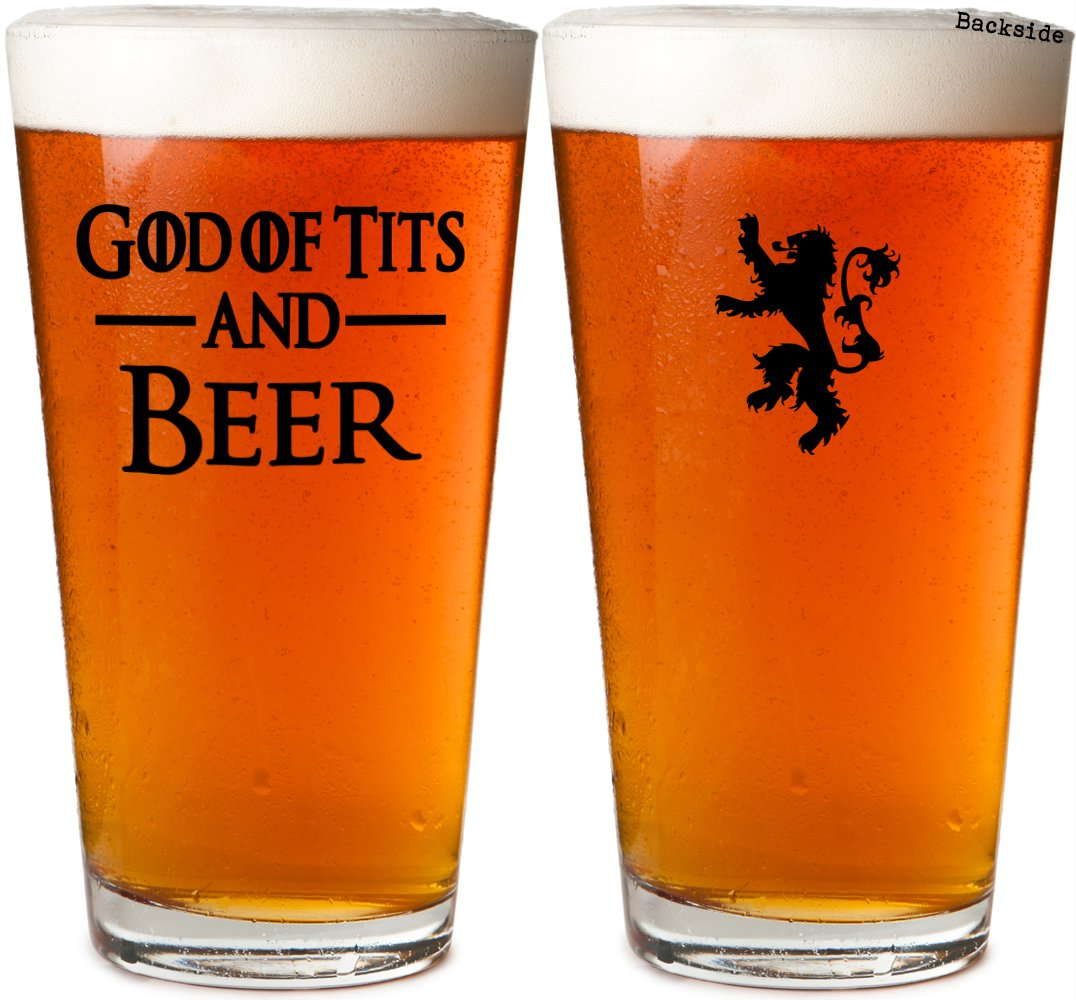 God Of Tits And Beer Thrones Beer Pint Glass Gift Box (Black) Daft & Co.