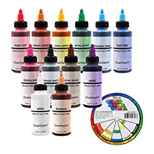 U.S. Cake Supply Airbrush Cake Color Set - The 12 Most Popular Colors in 2.0 fl. oz. Bottles with Color Mixing Wheel - Safely Made in the USA product