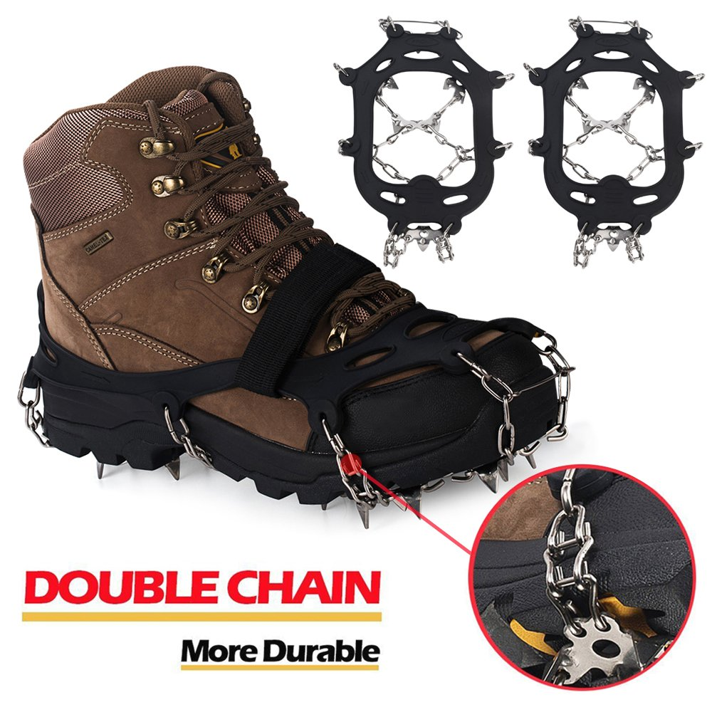 EnergeticSky Upgraded Version Of Walk Traction Ice Cleat Spikes Crampons,19Teeth,True Stainless Steel Spikes And Durable Silicone,/Boots For Hiking On Ice&Snow Ground,Mountian.-By (Black01, L)