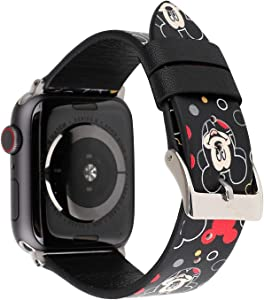 Lovely Style Watch Band Strap Cute Dressy Leather Wristband Bracelet Compatible with 44mm 42mm Apple Watch SE/Series 6/5/4/3/2/1 (Black)