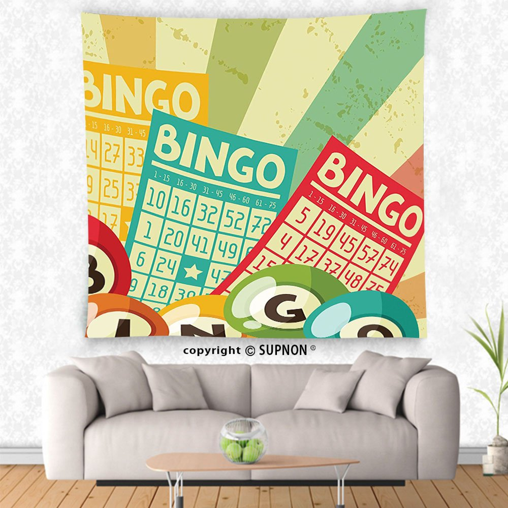 VROSELV custom tapestry Vintage Decor Tapestry Bingo Game with Ball and Cards Pop Art Stylized Lottery Hobby Celebration Theme Wall Hanging for Bedroom Living Room Dorm Multi