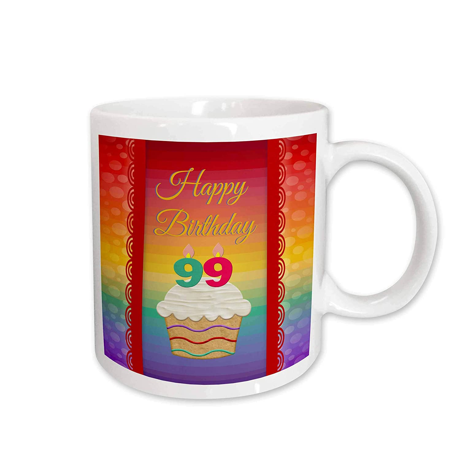99 Years Old Birthday 15Oz Mug 15 oz 3dRose 244850/_2Cupcake With Number Candles