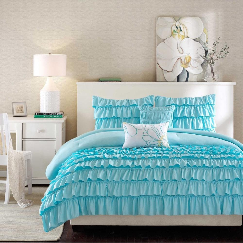 5 Piece Blue Ruffled Stripes Pattern Comforter Full Queen Set, Beautiful Chic Flowing Ruffles Lines Design, for Luxury Modern Bedrooms, Classic French Country Style, Neutral Solid Color, for Girls