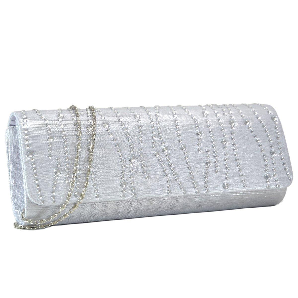 Woman Rhinestone Evening Bag Clutch Purse Crystal Pleated Satin Party Handbag Silver