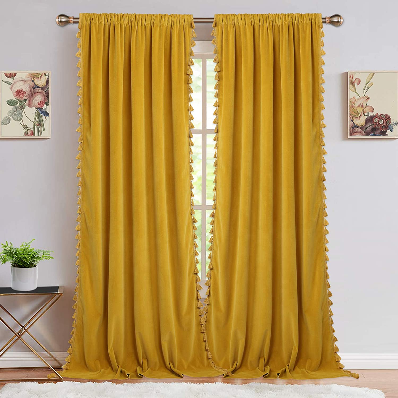 Velvet Curtains for Living Room, Boho Tassels Soft Luxury Home Decor Room Darkening Curtain Panels for Bedroom, Yellow, 42 x 108 Inch, 2 Panels