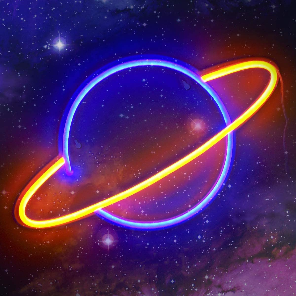 Koicaxy Planet Neon Sign, Led Neon Light Wall Light Led Wall Decor, Battery or USB Powered Light Up Acrylic Neon Sign for Bedroom, Kids Room, Living Room, Bar, Party, Christmas, Wedding