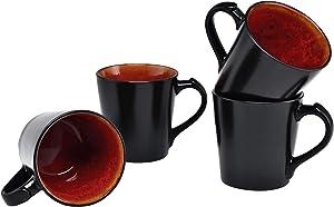 Culver VOG Ceramic Mug, 14-Ounce, Black Red, Set of 4