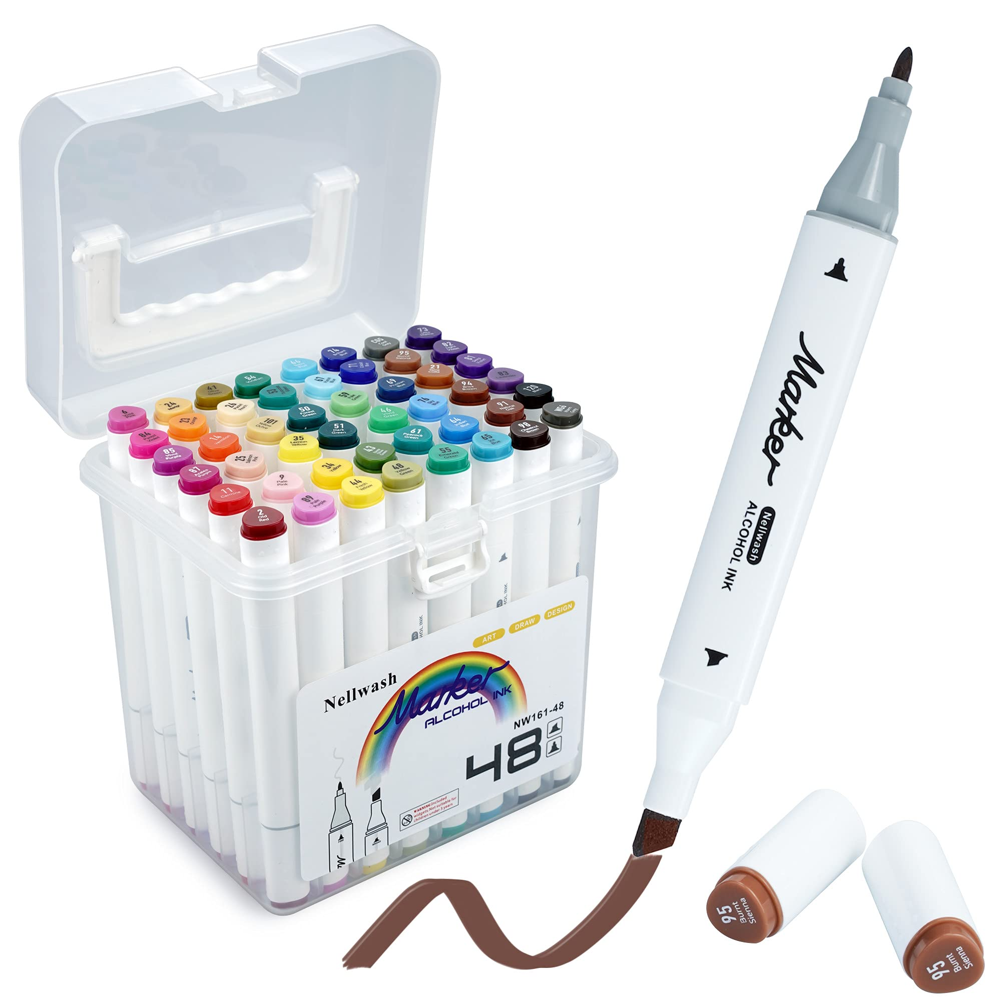 48 Colors Alcohol Markers for Kids Art Drawing Coloring Highlight Illustration Brush