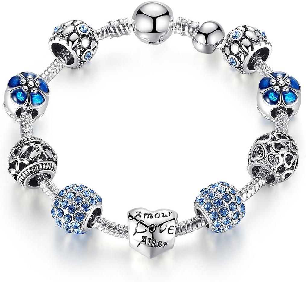 Pulsera Charms de Mujer Plateado de Plata con Azul Abalorio Murano Cristal Regalo para Mujer Niña Cumpleaños 20 centimetre