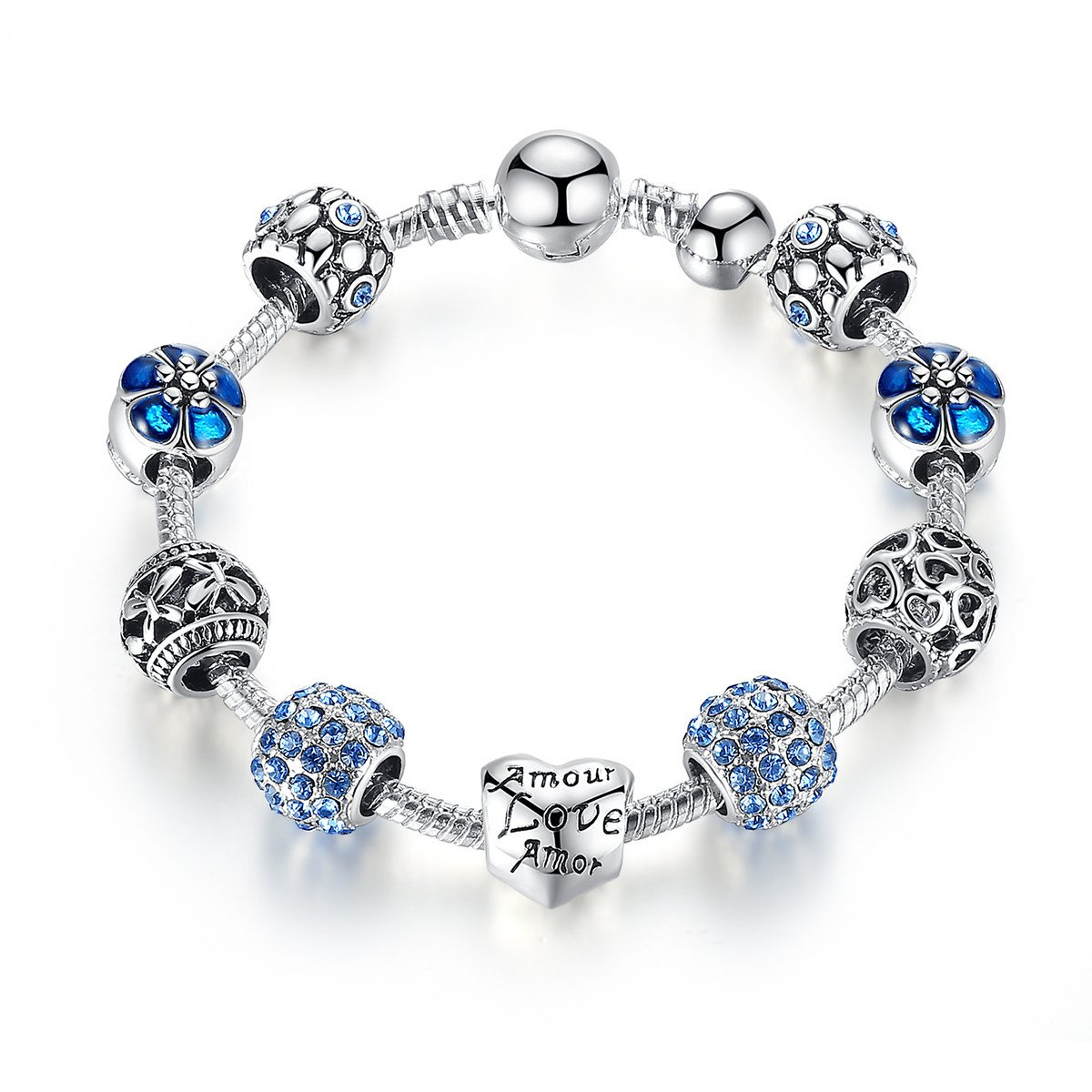 Christmas Day Gift Blue Fashion Charm Bangle Bracelet for Women Girls Silver Plated 20cm