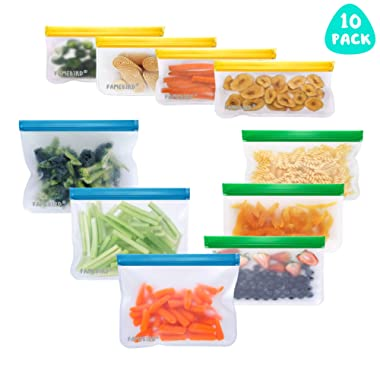 Reusable Food Storage Bags, 10 Pack Leakproof Freezer Bag, 6 Reusable Sandwich Bags & 4 Reusable Snack Bags, Extra Thick BPA-FREE Ziplock Lunch Bag for Food Storage Make-up Travel Home Organization