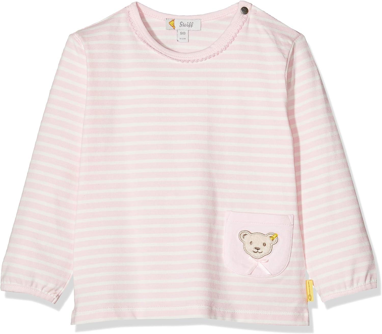 Steiff Baby-M/ädchen Mit Streifen und Teddyb/ärmotiv Langarmshirt