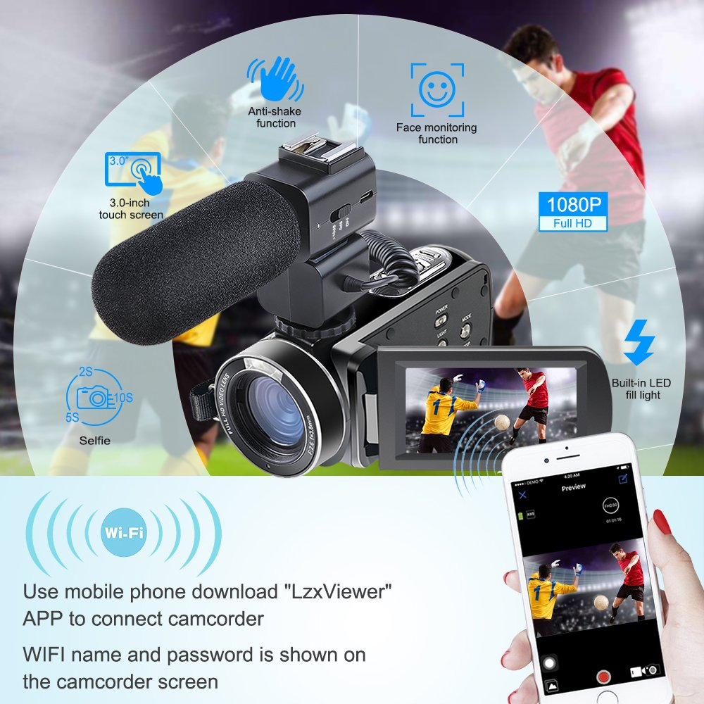 Amazon.com : Camera Camcorder, Besteker Remote Control WiFi Video  Camcorders, Full HD 1080P 24MP 30FPS Portable Digital Recorder with  External Microphone : ...