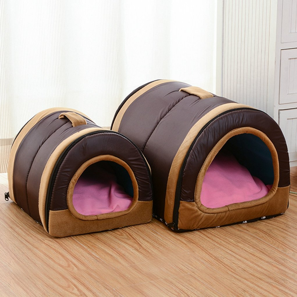 Dog House Nest with Mat Foldable Home Pet Dog Cat Puppy Dog Kennel for Small Medium Animals Chihuahua Beds Mat Cushion by WANK