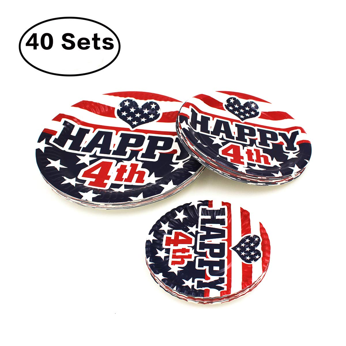 Brightone Disposable Everyday Paper Plates, 180 Count 3 Size Round Plates Flag Design Eco-Friendly Paper Plate