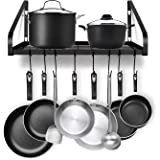 Hanging Pot Rack, G-TING Pot and Pan Organizer Wall Mounted Pots Holder Kitchen Storage Shelf with 8 Hooks, Ideal for Pans Se