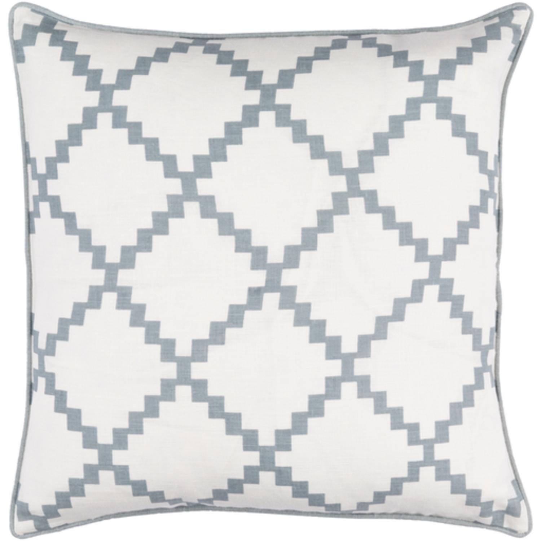 22'' Cotton White and Ash Gray Linen Decorative Throw Pillow- Down Filler