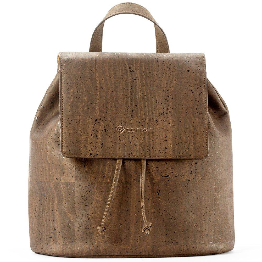 Corkor Cork Backpack - Vegan Handbag For Women Top Flap Back Pack Travel School Brown Color