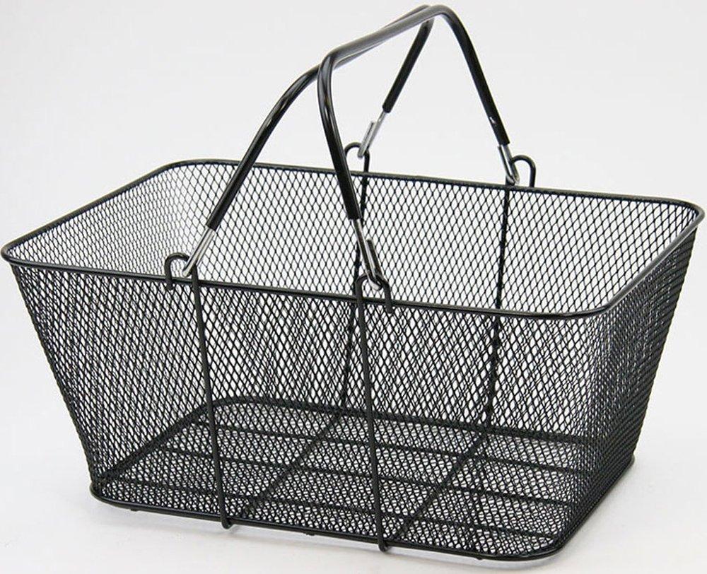 Shopping Basket Wire Mesh Market Gift Store BLACK Lot Of 12 New