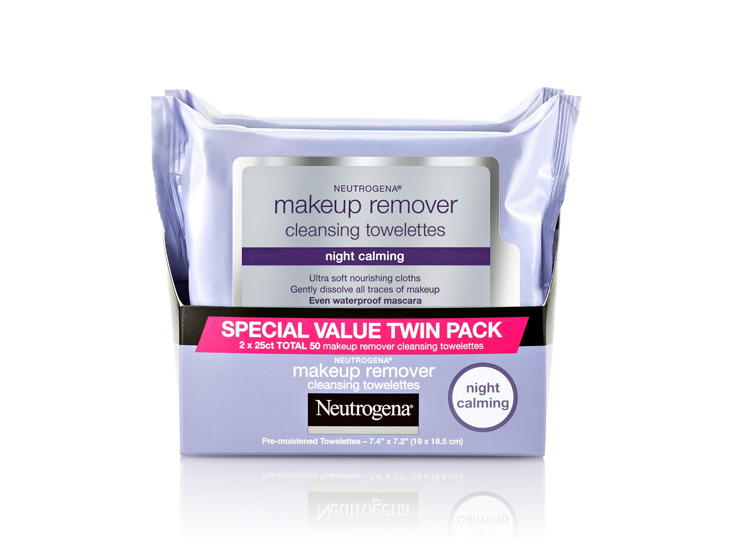 Neutrogena Makeup Remover Night Calming Cleansing Towelettes, Disposable Nighttime Face Wipes to Remove Dirt, Oil & Makeup, 25 ct 2 Pk by Neutrogena