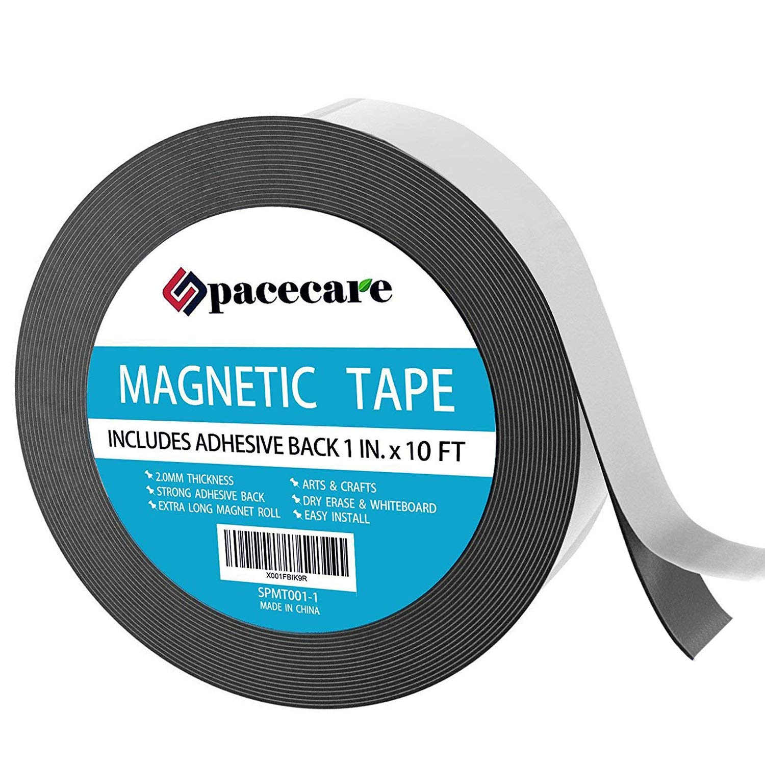 SPACECARE Magnetic Tape 1 x 16.6 Feet Incredibly Strong & Flexible - Peel & Stick Adhesive Backing - Easy to Cut - Strong Magnet Flux