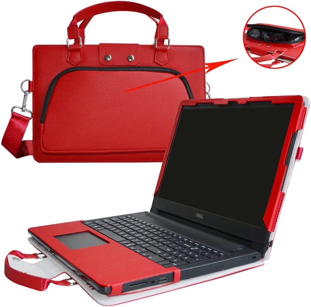 "Inspiron 15 5570 Case,2 in 1 Accurately Designed Protective PU Leather Cover + Portable Carrying Bag for 15.6"" Dell Inspiron 15 5000 Series i5570 Laptop(Not fit Latitude 5570),Red"