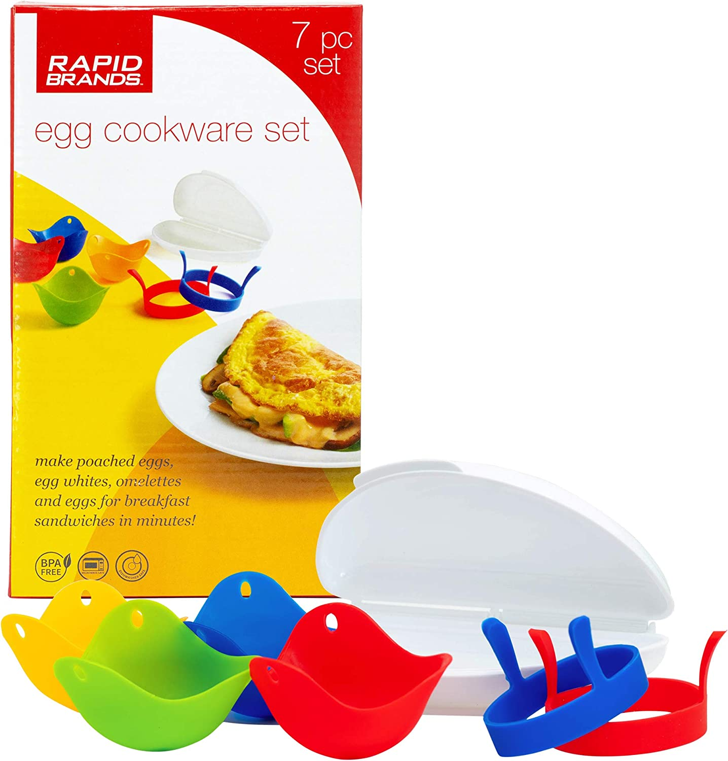 Rapid Brands 7-Piece Microwave Poached Egg & Omelette Cookware Set   Perfect for Dorm, Small Kitchen, or Office   Dishwasher-Safe, Microwaveable, BPA-Free