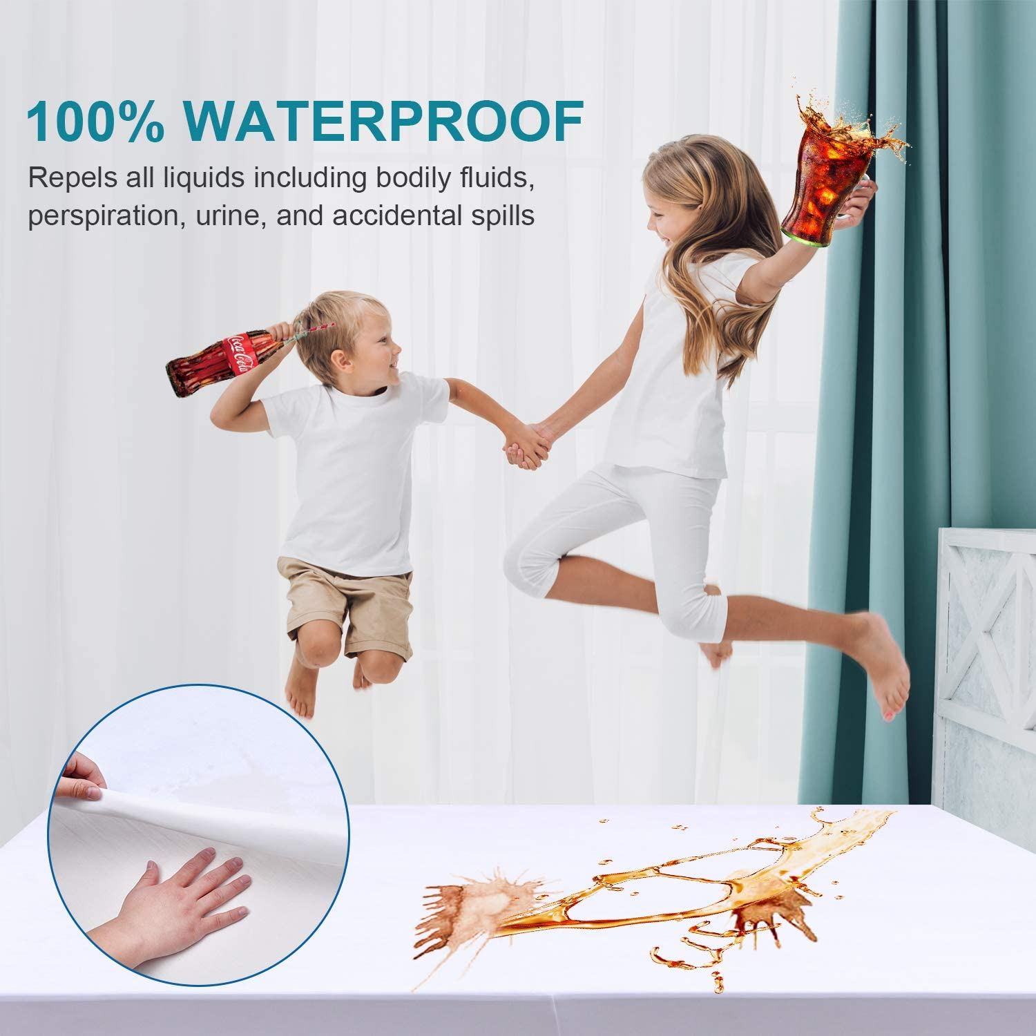 Teemour Cooling Bedbug Mattress Protector Full 100/% Waterproof Mattress Protector Hypoallergenic Mattress Pad Cover Bamboo Fabric Terry Top-Fitted18-21 Deep Pocket