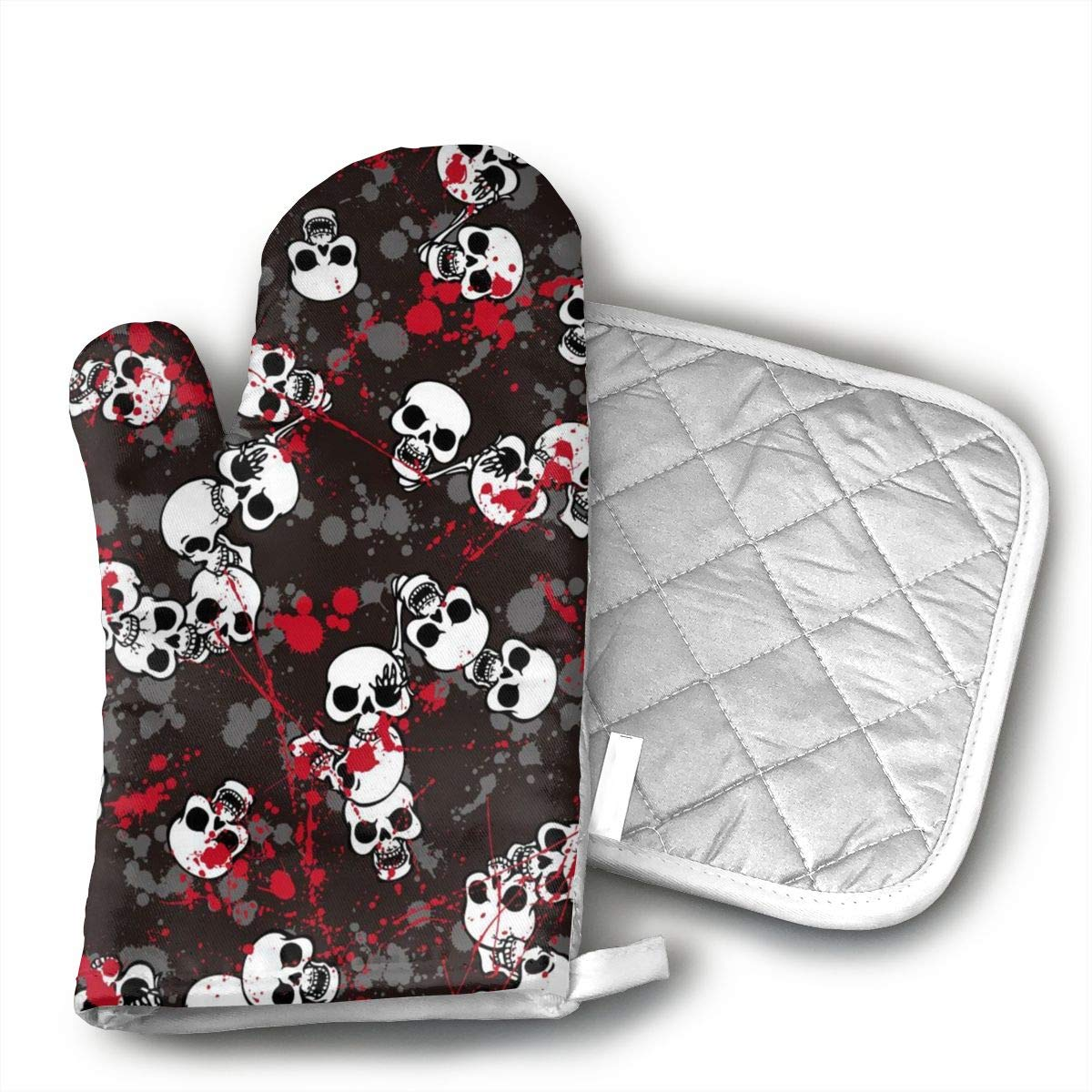 Ydsgjds Bloody Skull Oven Mitts and BBQ Gloves Pot Holders, Heat Resistant Mitts for Finger Hand Wrist Protection with Inner Lining, Kitchen Gloves for Grilling Machine Baking Grilling with Non-Slip