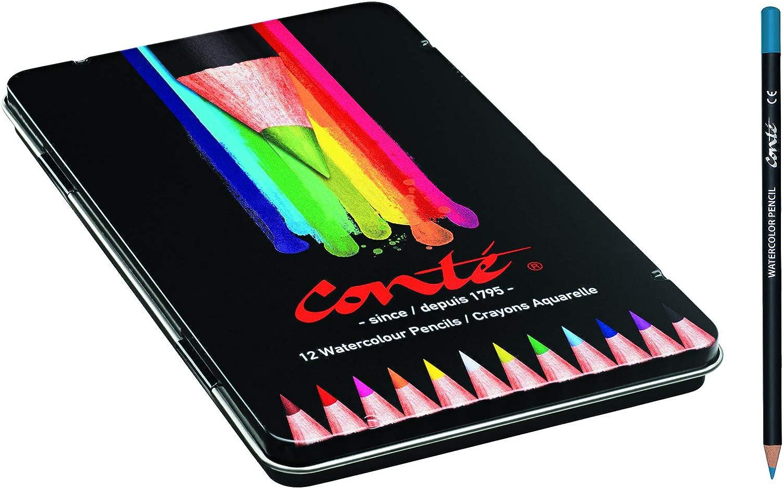Conté Colouring Lápices de Colores - Colores Surtidos, Caja Metálica de 12 Unidades