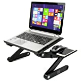 H&S® Portable Adjustable Laptop Computer Notebook Desk Stand Table Folding Lap Tray for Bed Couch