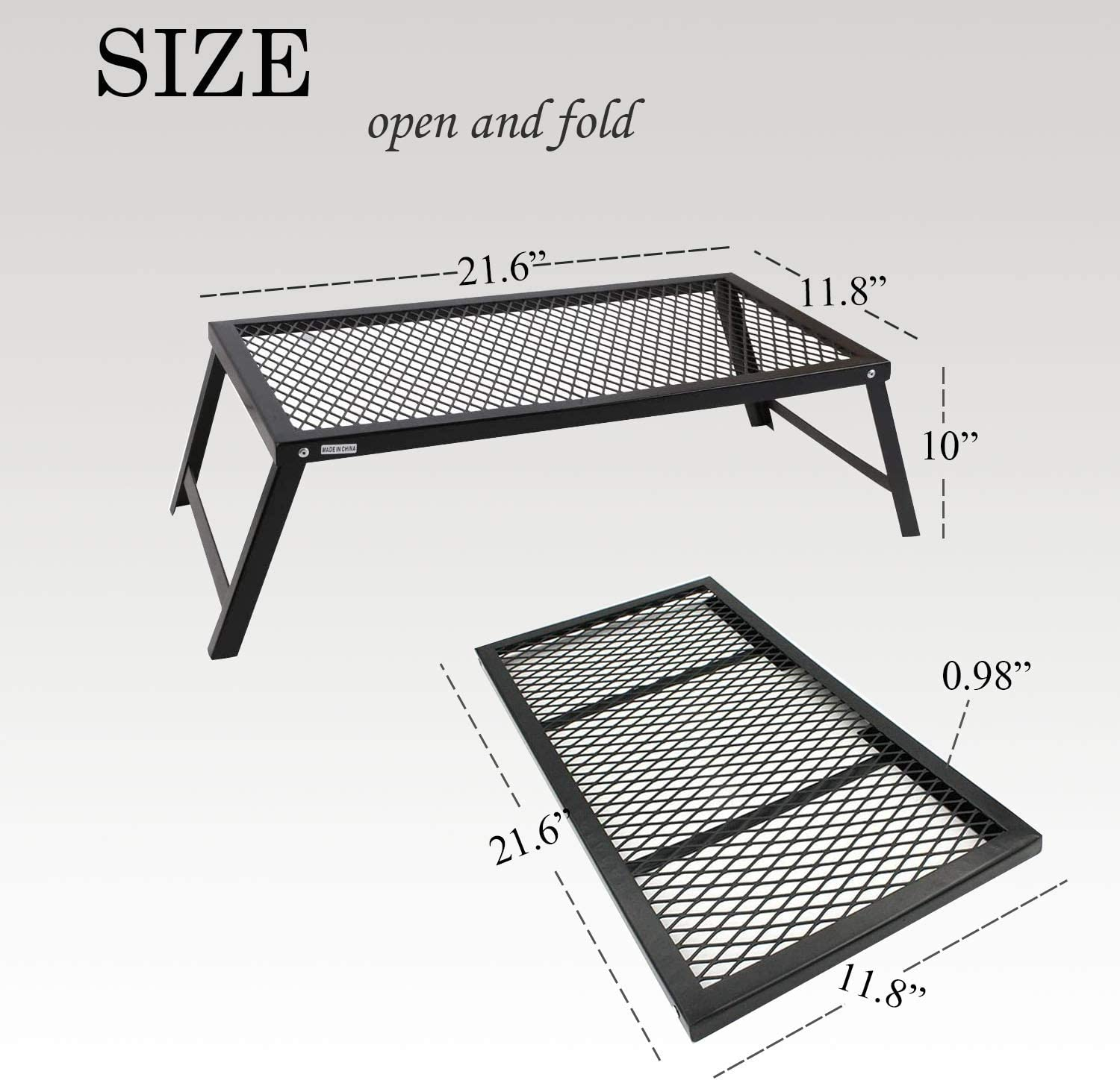 21.6X11.8 . YOLER Folding Camping Grills Heavy Duty Steel Grate for Outdoor Table Backpacking Hiking Traveling Picnic BBQ