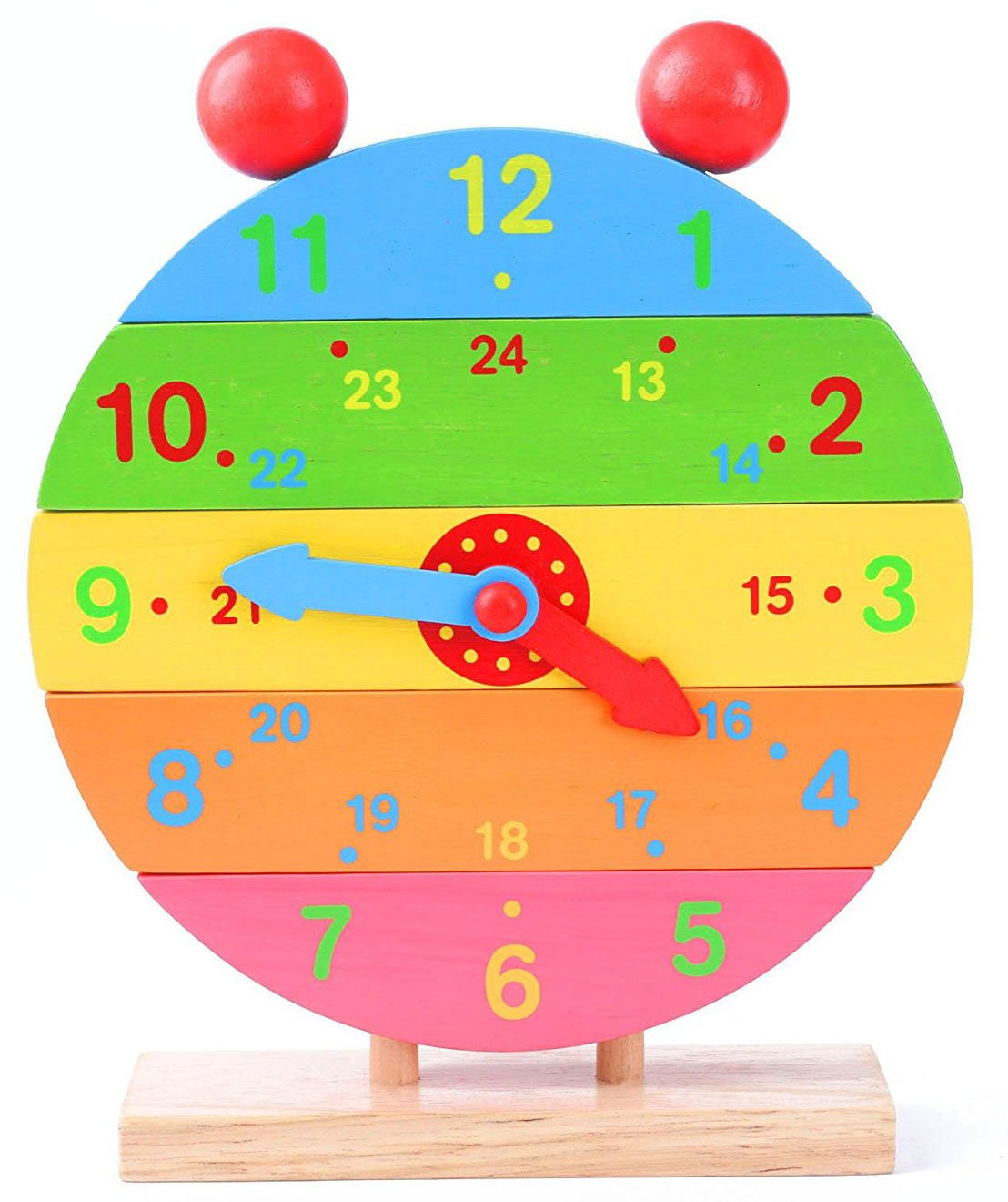 Babe Rock Wooden Clock Toys - Kid's Teaching Clock Educational Time Learning Puzzle Clock for 2 Years Old