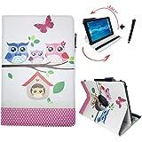 Tablet Tasche für Lenovo Tab10 TB-X103F Schutz Hülle Etui Case + Touch Pen – 10.1 Zoll Baby Eulen 360?