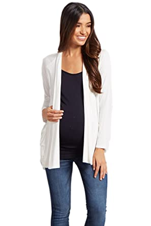 55b1fd8f33257 PinkBlush Maternity Ivory Basic Front Pocket Maternity Cardigan