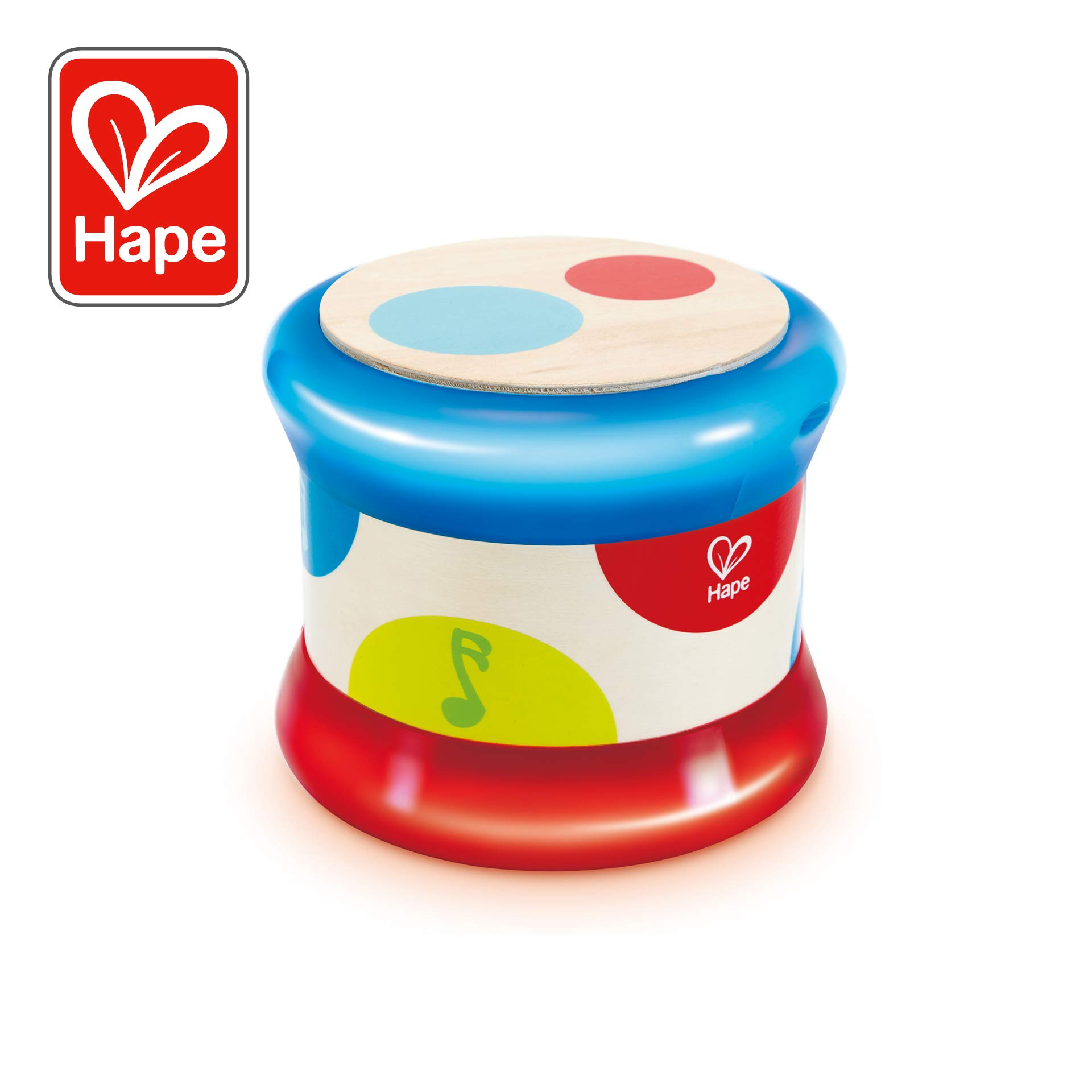 Hape Baby Drum   Colorful Rolling Drum Musical Instrument Toy for Toddlers, Rhythm & Sound Learning, Battery Powered