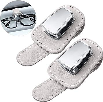Mudder 2 Packungen Auto Brillen Sonnenblende Brillenhalter Universal Auto Visier Sonnenbrille Halter Clip Leder Brillen Aufhänger Und Ticket Karte Clip Brillenhalterung Für Auto Beige Auto