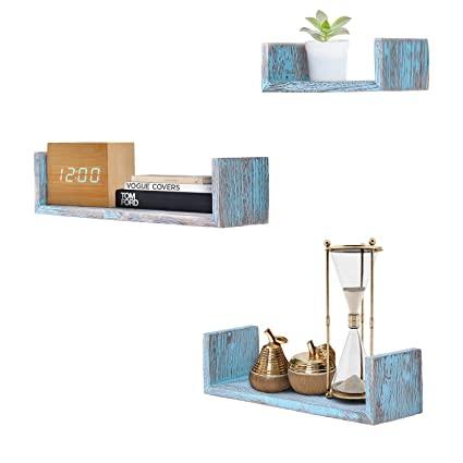 Comfify Rustic Wall Mounted U-Shaped Floating Shelves – Set of 3 – Large,  Medium and Small – Screws and Anchors Included - Farmhouse Shelves for