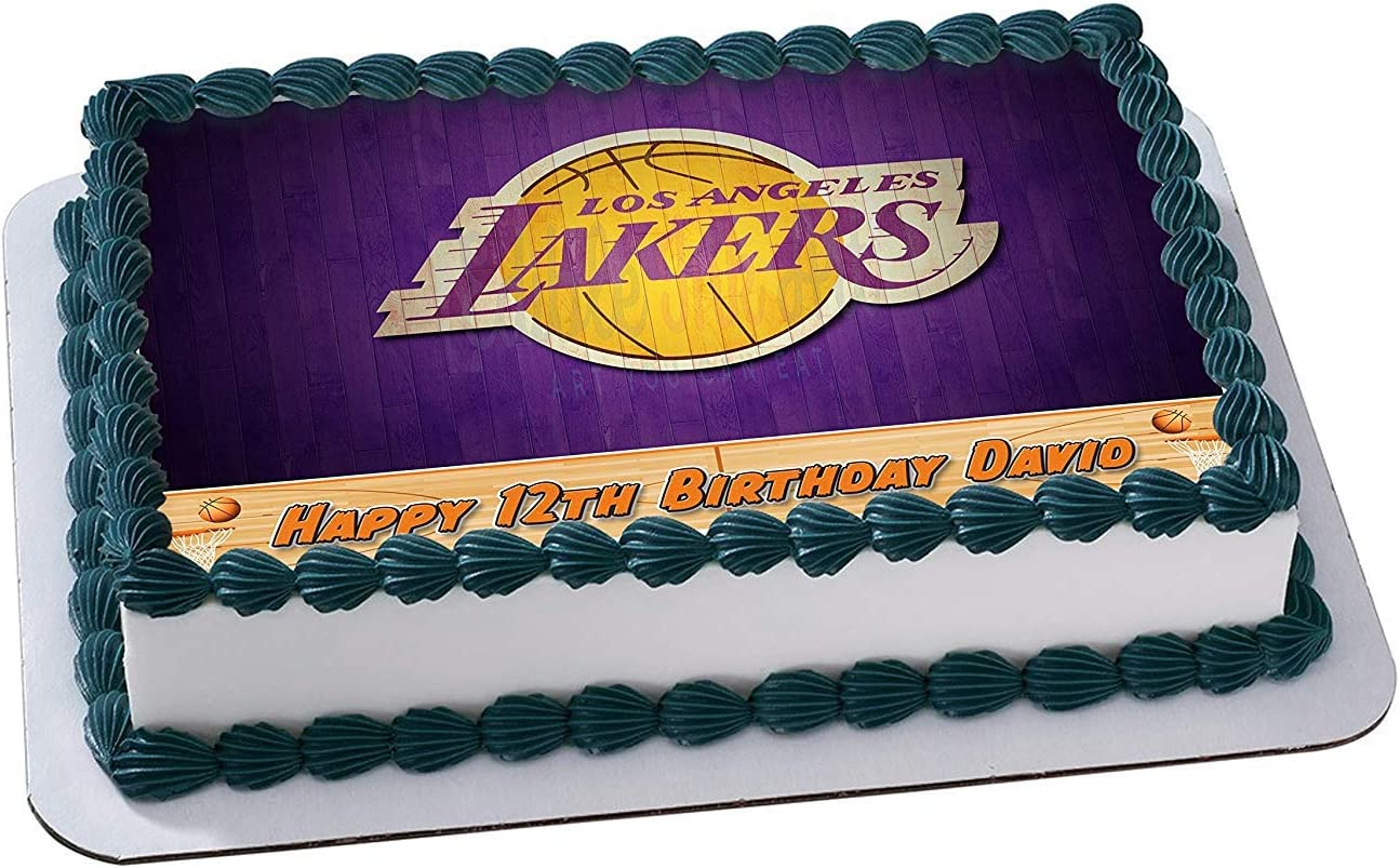 Pleasing Amazon Com Los Angeles Lakers Basketball Edible Image Cake Topper Funny Birthday Cards Online Sheoxdamsfinfo