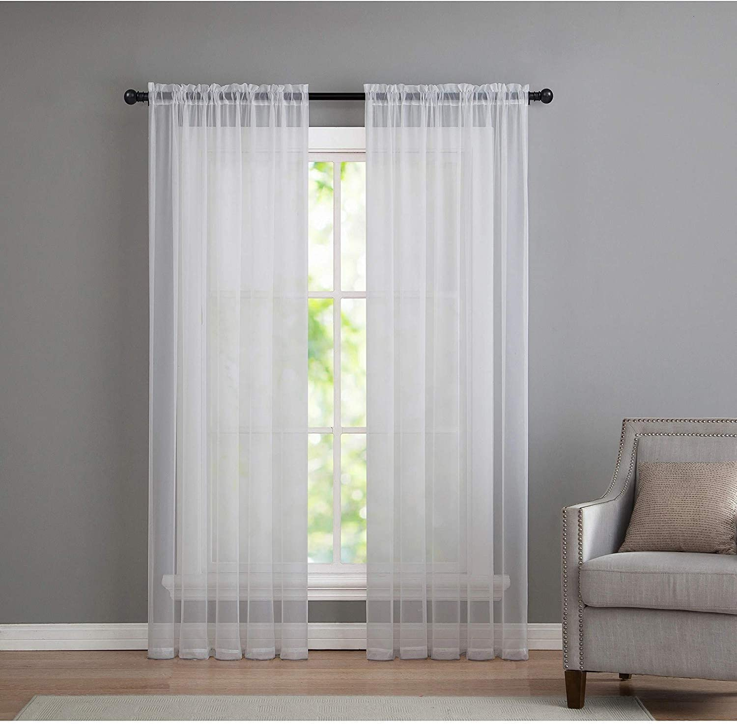 GoodGram 2 Pack: Basic Rod Pocket Sheer Voile Window Curtain Panels - Assorted Colors & Sizes (White, 63 in. Long Pair)