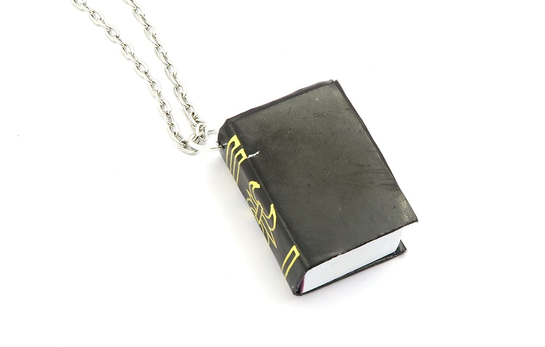 Buch Kette 60 cm silberfarben schwarz Schule Anhänger: Amazon.de ...