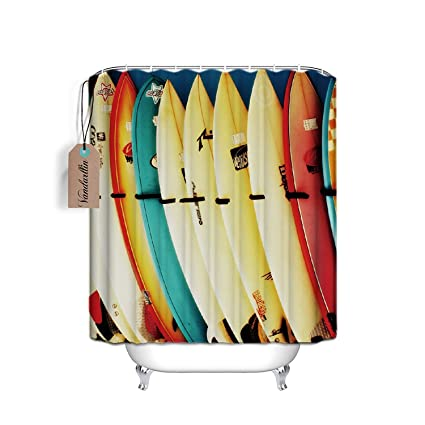 hensu Custom Colorful tabla de surf resistente al agua tela de poliéster cortina de ducha de