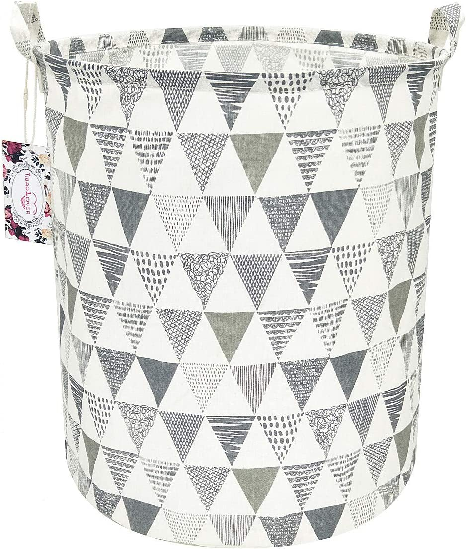 "TIBAOLOVER 19.7"" Large Sized Waterproof Foldable Canvas Laundry Hamper Bucket with Handles for Storage Bin,Kids Room,Home Organizer,Nursery Storage,Baby Hamper(Triangle Pattern-Grey)"