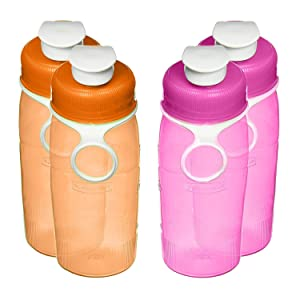 Rubbermaid Refill, Reuse 14-ounce Mini Chug Bottle, 4 Pack (2-Pink, 2-Orange)
